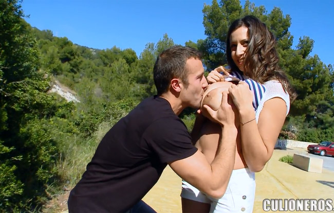 Outdoors huge tits fuck blowjob doggy cumming on boobs 7